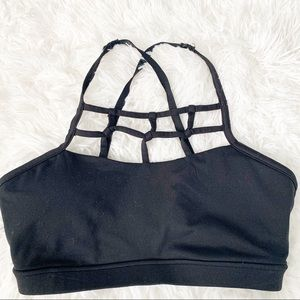 FOREVER 21 Cage Front Black Strappy Sports Bra